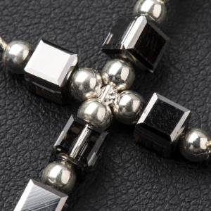 Pendant cross in silver with cubic hematite beads s3