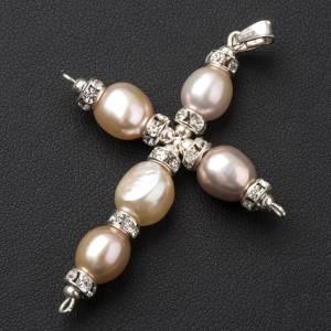 Pendant cross, Swarovski and pearls s2