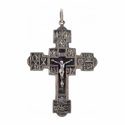 Pendant crucifix with Stations of the Cross, sterling silver s1