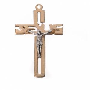 Pendant stylised crucifix in golden zamak s1