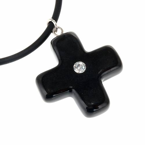 Croce nera con Swarovski s2