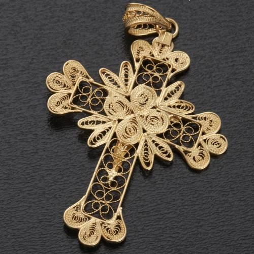 Pendente croce argento 800 filigrana bagno oro - gr. 3.5 s5