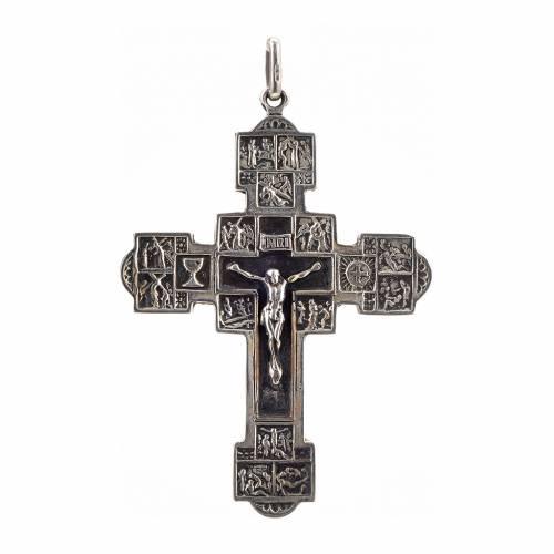 Pendentif croix avec Chemin de Croix argent 925 s1