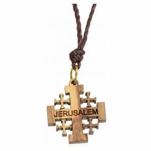Pendentif croix de Jérusalem bois d'olivier Terre Sainte s1