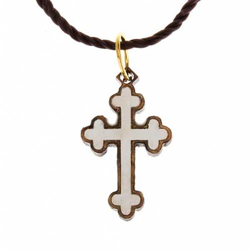 Pendentif croix trilobée bois Terre sainte et nacre s2