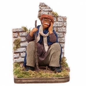 Pensive man sitting, Neapolitan nativity figurine 12cm s1