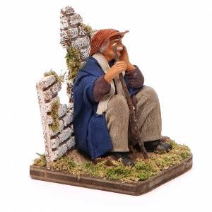 Pensive man sitting, Neapolitan nativity figurine 12cm s2