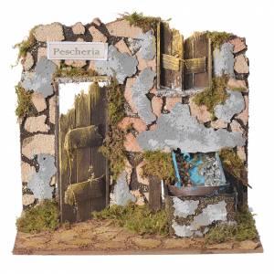 Ambientazioni, botteghe, case, pozzi: Pescheria presepe con fontanella 18x20x14