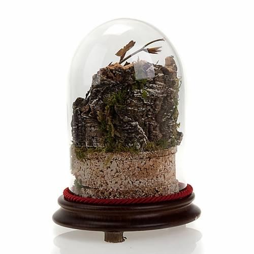 Pesebre en campana de vidrio con ambiente 20 cm de altura s2