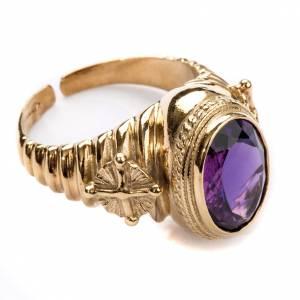 Akcesoria dla biskupa: Pierścień dla biskupów srebro 800 jadeit kolor ametystowy