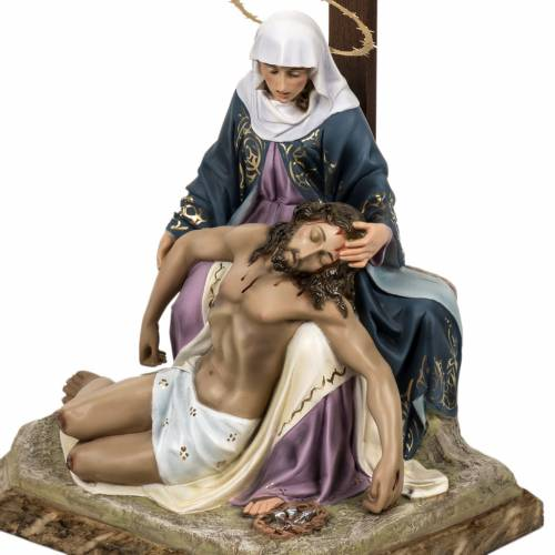 Pietà statue 50cm in wood paste, elegant decoration s5