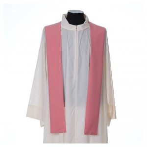 Pink Chasuble in wool and lurex with Chi-Rho, monstrance, wheat s5