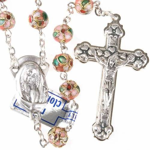 Pink cloisonné rosary s1
