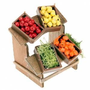 Aliments en miniature: Planche marché 4 cagettes de fruits crèche