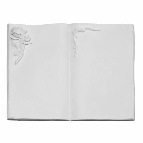 Plaque funéraire livre et rose en marbre synthétique s1
