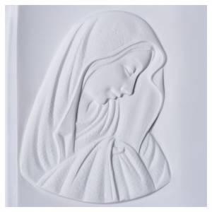 Plaque funéraire livre et Vierge en marbre synthétique s2