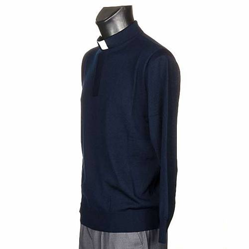 Polo clergy manches longues, bleu s2