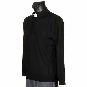 Polo clergy manches longues, noir s2
