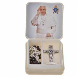 Pope Francis mahogany rosary and cross s1