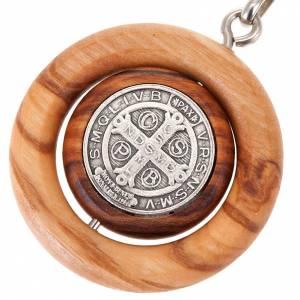 Portachiavi medaglia girevole san Benedetto s3