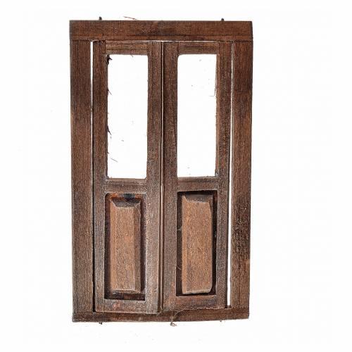 Porte 2 volets avec châssis bois crèche 11x6,5 cm s1