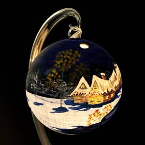 Porte bougie de Noel bleue peinte à la main s4