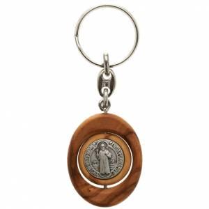 Porte-clés: Porte-cléfs, médaille St Benoit tournante ovale