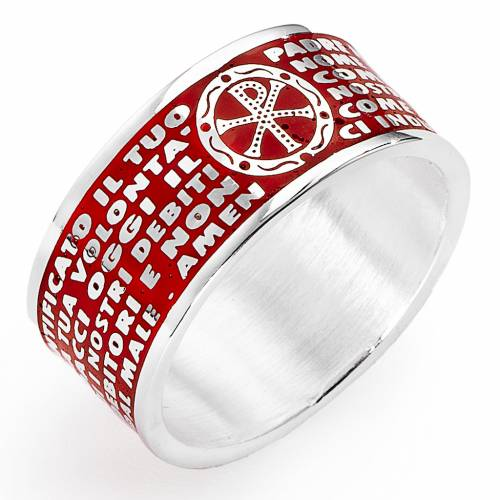 Prayer ring AMEN, Our Father, in red enamel s1