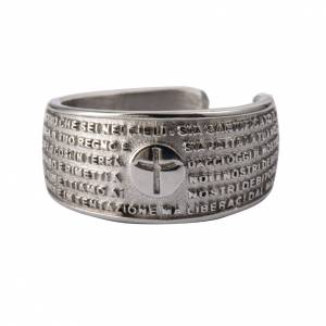 Prayer ring Our Father in rhodium-plated bronze s1