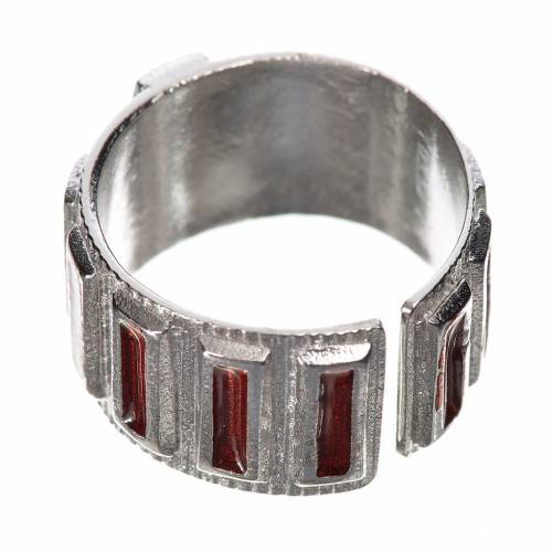 Prayer ring single decade in 800 silver and red enamel s3