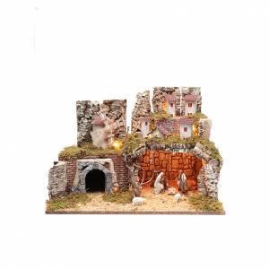 Capanne Presepe e Grotte: Presepe 40x55x35 con scena e ambientazione