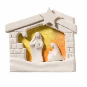 Presepe casetta Natale da pareta argilla arancio 13,5 cm s1