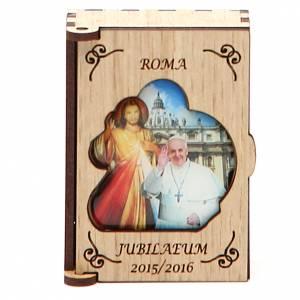 STOCK Pudełeczko na różaniec drewno Jubileusz Papież Franciszek s1