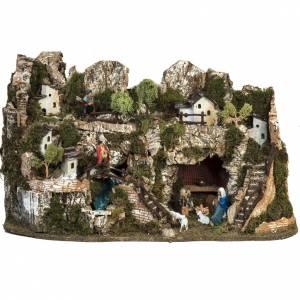 Portales, cabañas y cuevas: Pueblito pesebre 74x43x36cm con cascada