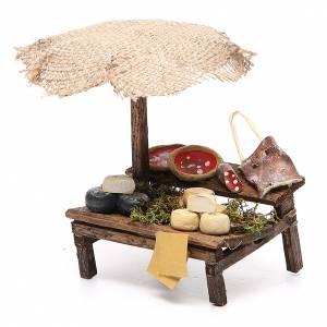 Puesto de mercado para belén con sombrilla, pizza y quesos 12x10x12 cm s2
