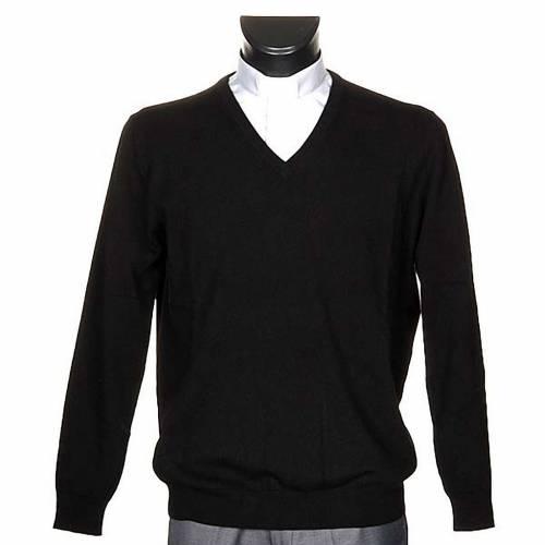 Pullover cachemir 100% nero collo V s1