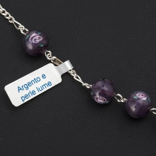 Pulsera plata 800 granos 8mm perla púrpura s2