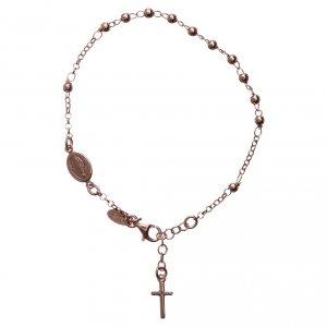Pulseras AMEN: Pulsera rosario AMEN cruz charm plata 925 acabado rosado