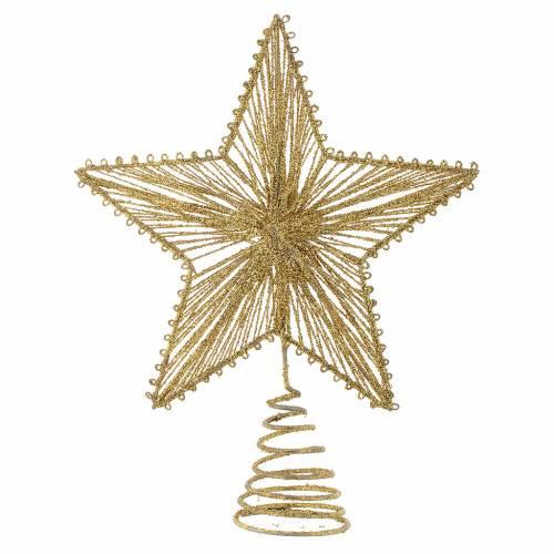 Puntale 25 cm Stella per Albero di Natale colore dorato s1