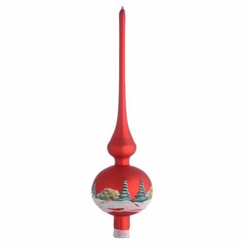 Puntale Albero Natale rosso con paesaggio s2