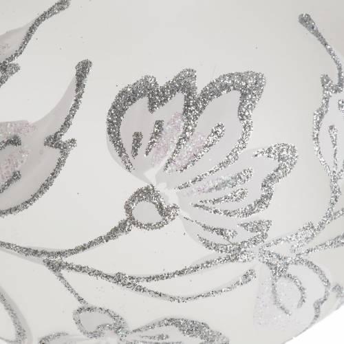 Puntale per albero Natale vetro soffiato decori argento s2