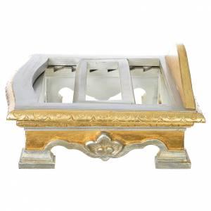 Pupitre de table bois feuille argent or s5