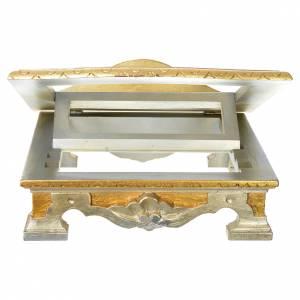 Pupitre de table bois feuille argent or s3