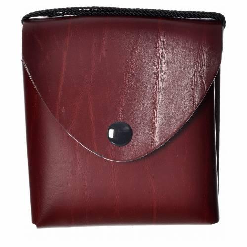 Pyx case in leather, 10 cm, burgundy s1