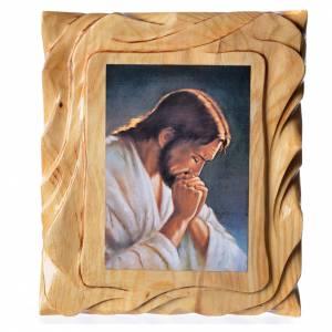 Quadretto legno con stampa Gesù in preghiera 25x20 cm s1