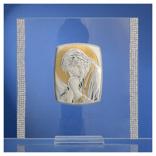 Quadro Cristo Argento e strass 17,5x17,5 cm s2