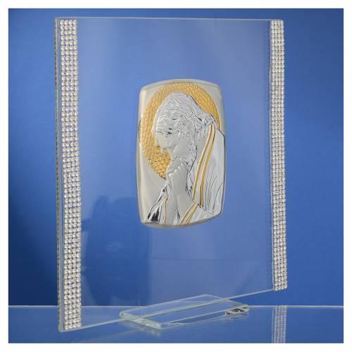 Quadro Cristo Argento e strass 17,5x17,5 cm s3