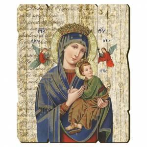 Quadro legno sagomato gancio retro Madonna Perpetuo Soccorso s1