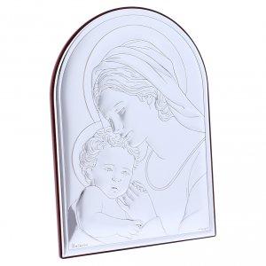 Quadro Madonna con Bambino in bilaminato con retro in legno pregiato 18X13 cm s2