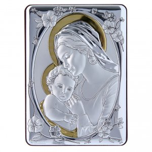 Quadro Madonna Gesù bilaminato retro legno pregiato rifiniture oro 14X10 cm s1